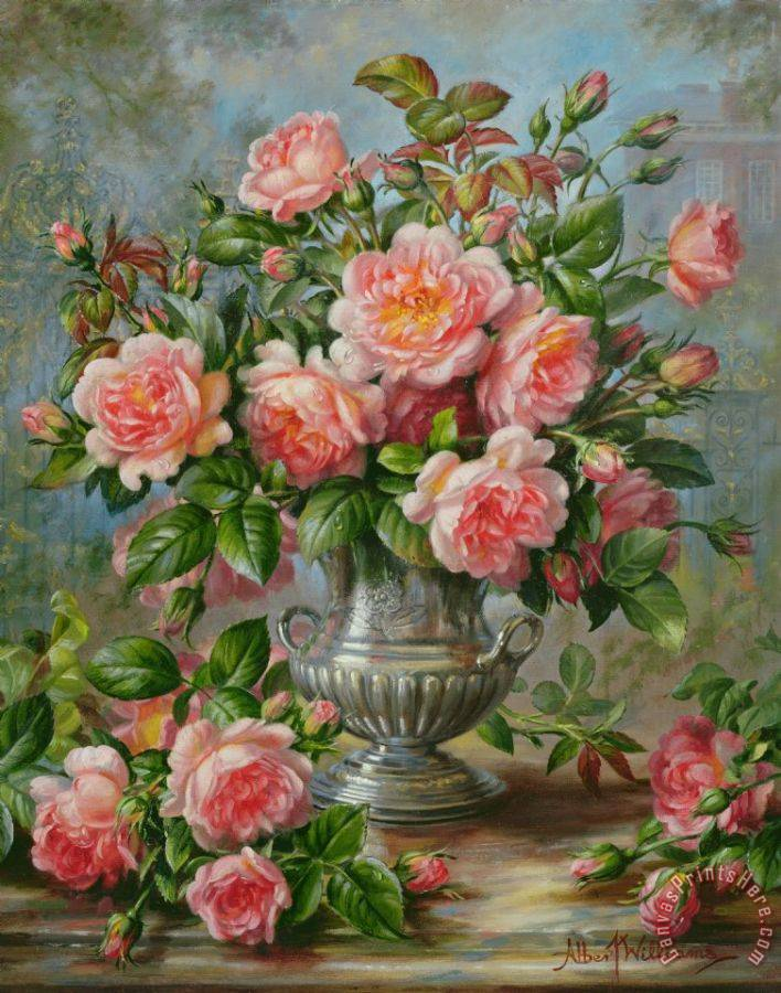 Albert Williams English Elegance Roses in a Silver Vase Art Painting