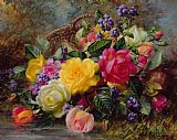 Albert Williams Roses by a Pond on a Grassy Bank Print