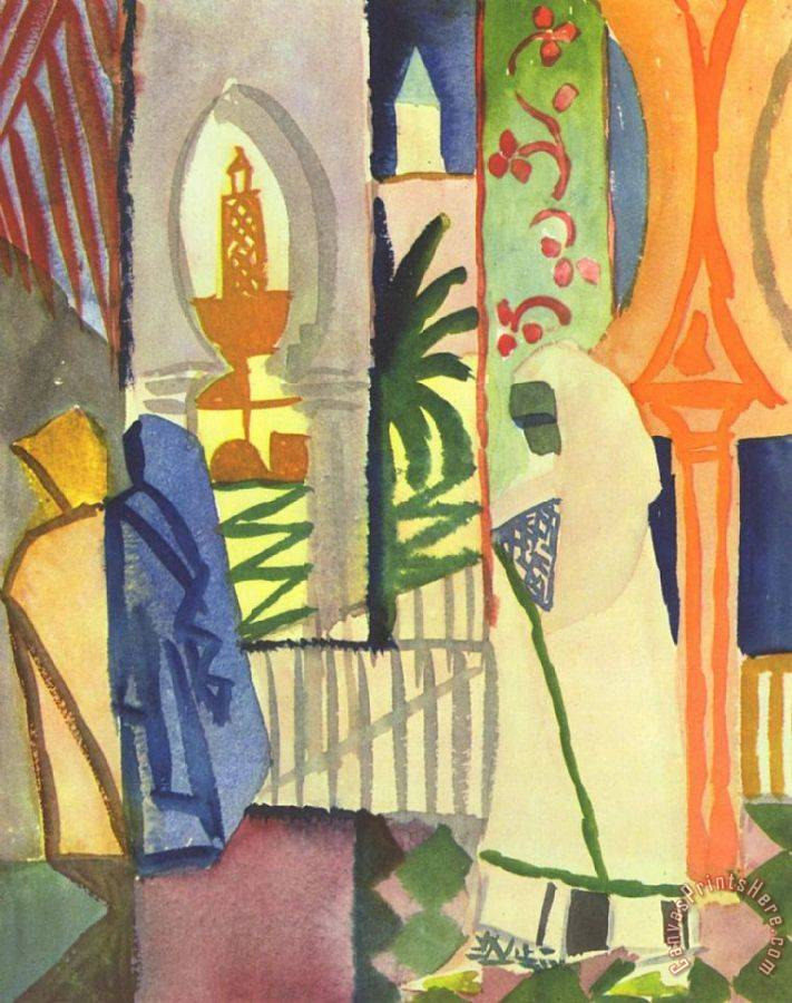 August Macke In The Temple Hall Art Print