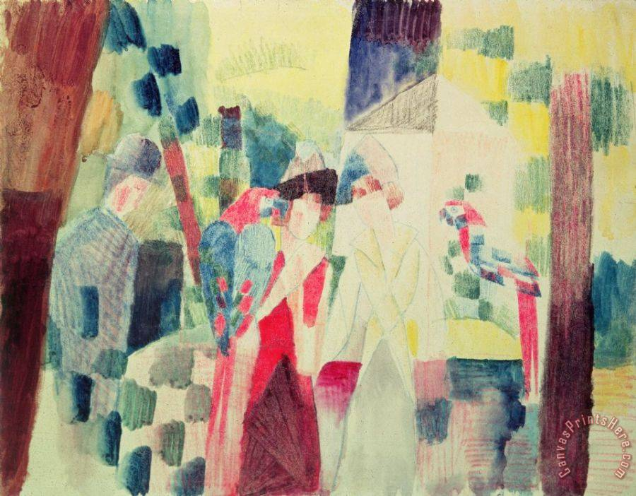 August Macke Two Women and a Man with Parrots Art Print