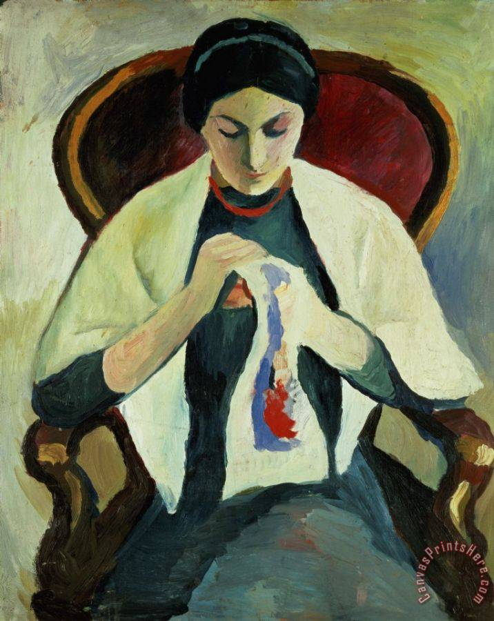 August Macke Woman Sewing Art Print