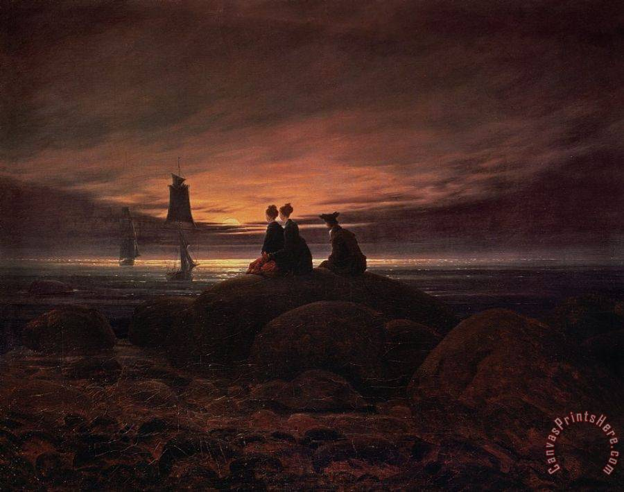 Caspar David Friedrich Moon Rising Over the Sea Art Print