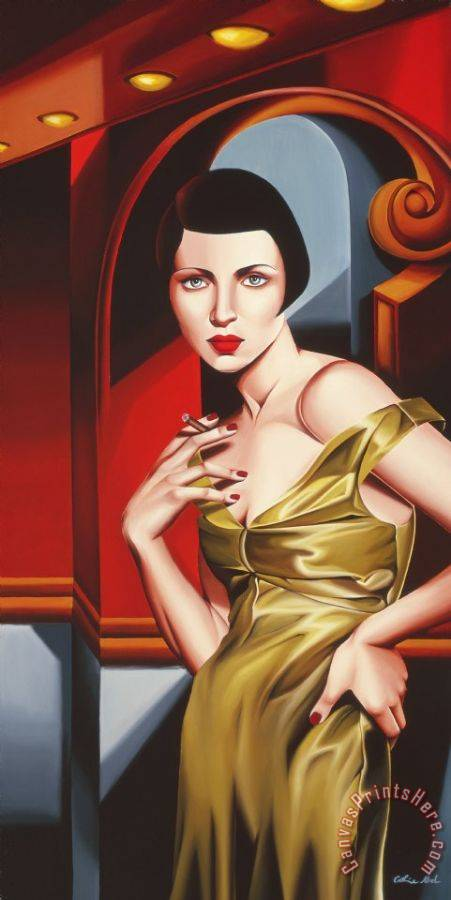 Catherine Abel Olive Satin Dress Art Print