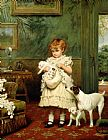 Charles Burton Barber Girl with Dogs Print