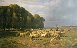 Charles Emile Jacque Flock of Sheep in a Landscape Print