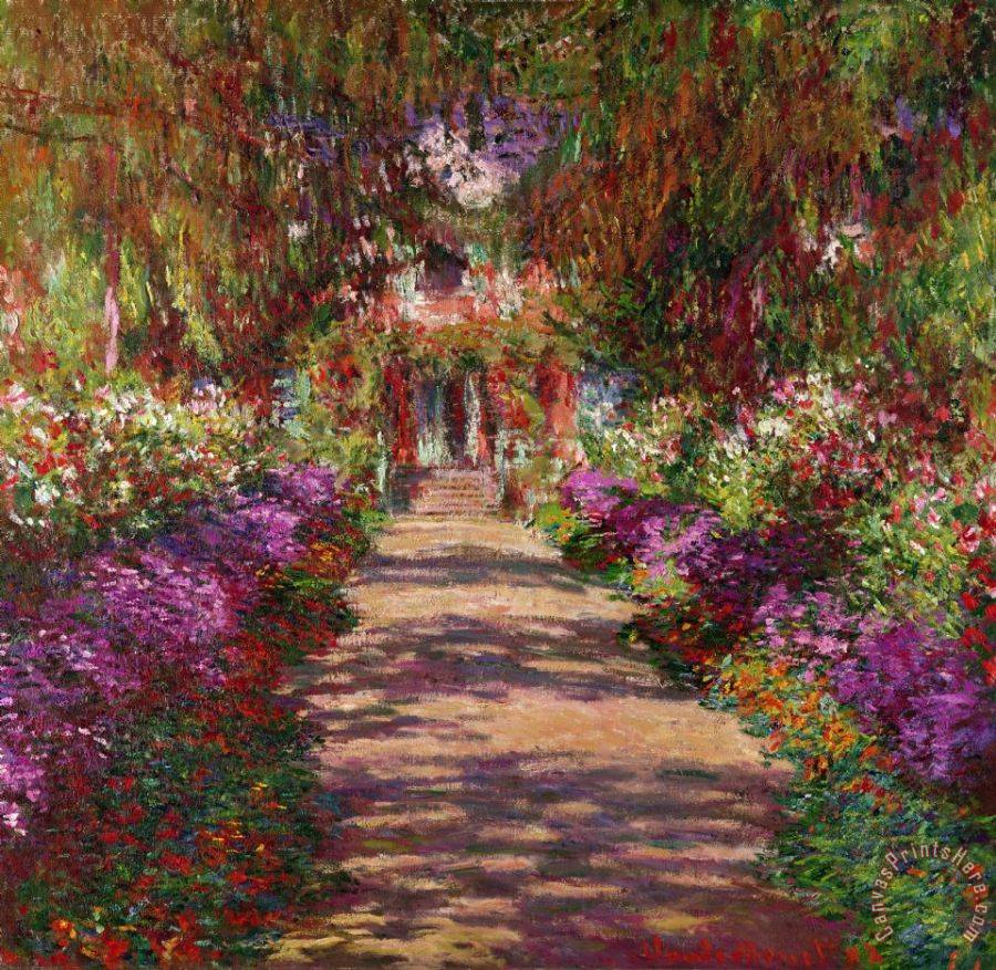 Claude Monet A Pathway in Monets Garden Giverny Art Print