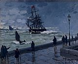 Claude Monet The Jetty at Le Havre in Bad Weather Print