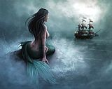 Collection Mermaid And Pirate Ship Print