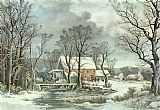 Currier and Ives Winter in the Country - the Old Grist Mill Print