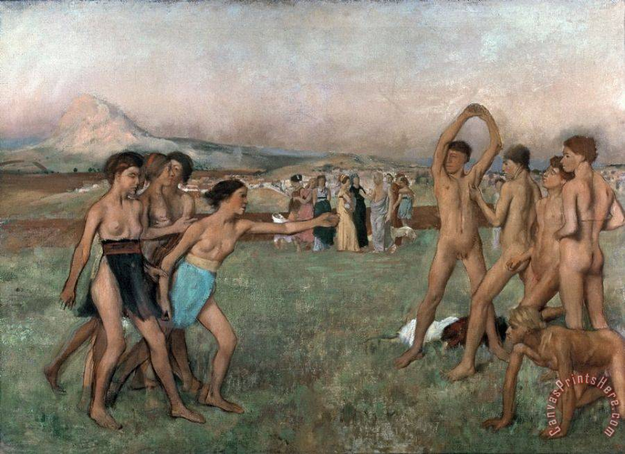 Edgar Degas Young Spartans Exercising Art Print