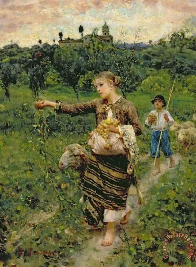 Francesco Paolo Michetti Shepherdess carrying a bunch of grapes Art Print
