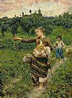 Francesco Paolo Michetti Shepherdess carrying a bunch of grapes Print