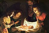 Gerrit van Honthorst Adoration of the baby Print