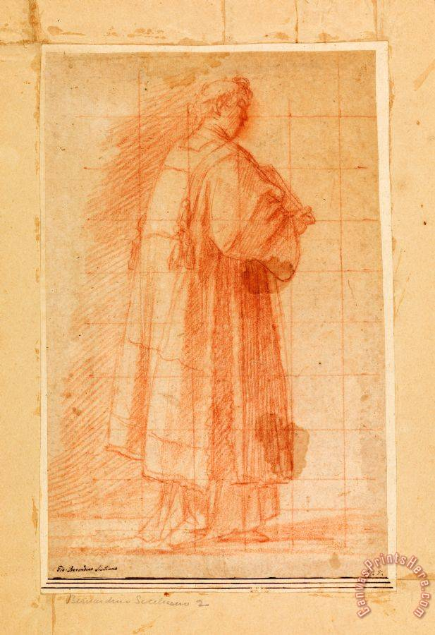Giovanni Bernardino Rodriguez called Siciliano Standing Cleric Holding a Book Art Print