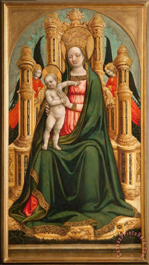 Giovanni d'Alemagna e Antonio Vivarini The Virgin And Child Enthroned And Two Angels Art Print
