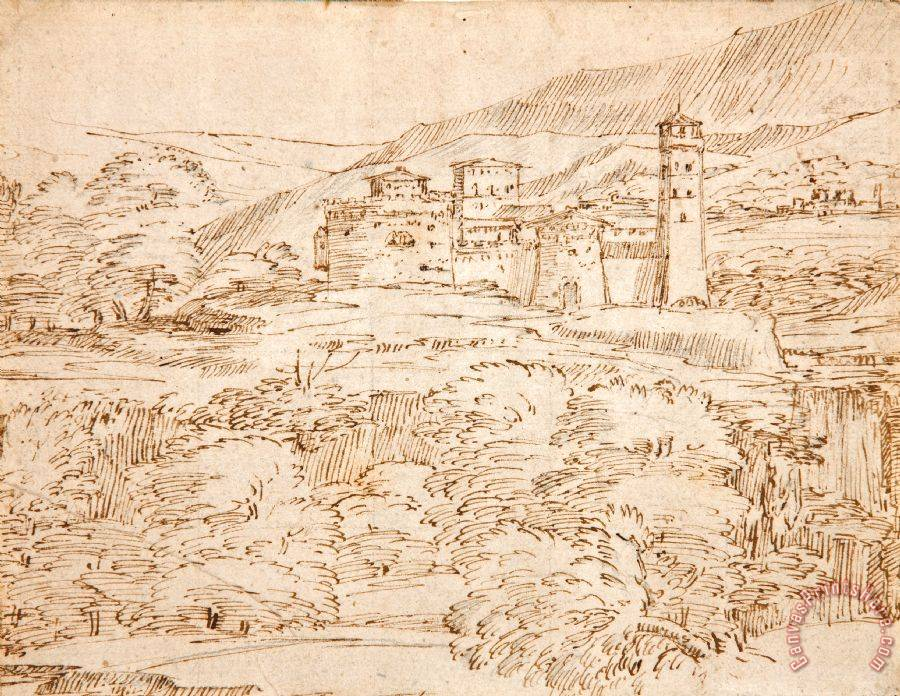 Giovanni F. Grimaldi A Landscape with a Castle Above a Belt of Trees Art Print
