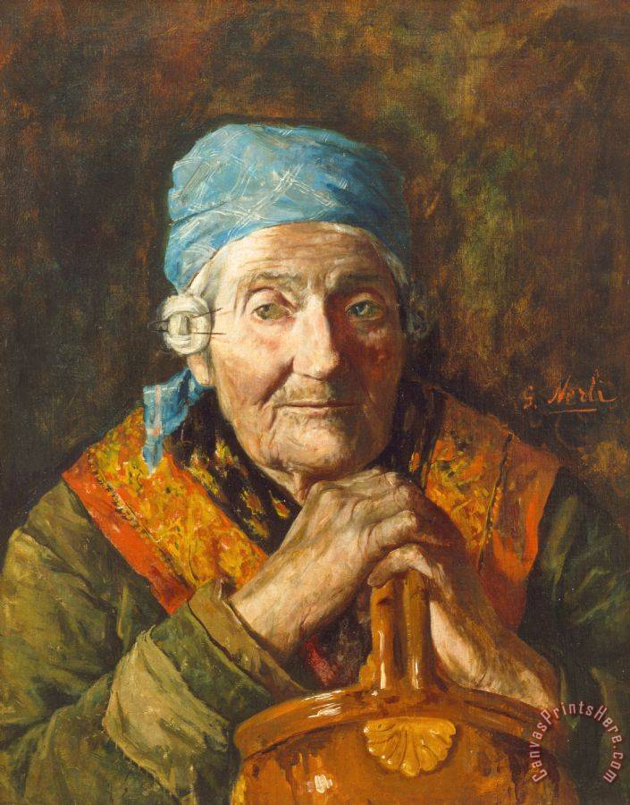 Girolamo Nerli An Old Woman (study) Art Print