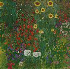 Gustav Klimt Farm Garden with Flowers Print