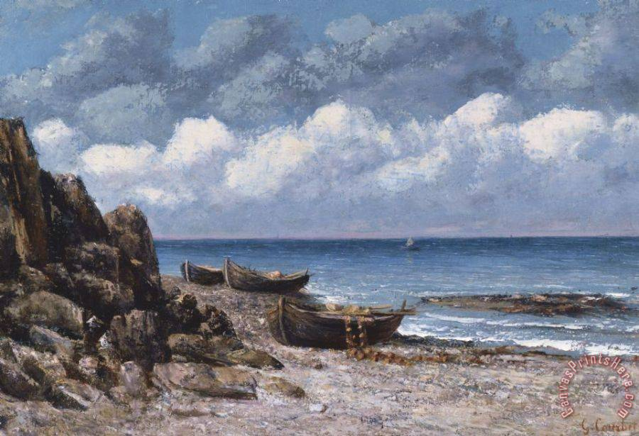Gustave Courbet Boats At St Aubain Art Print