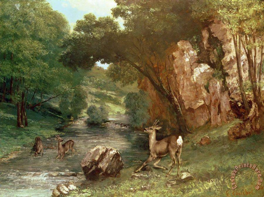 Gustave Courbet Deer by a River Art Print