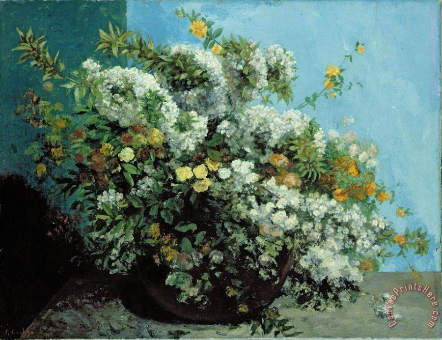 Gustave Courbet Flowering Branches and Flowers Art Print
