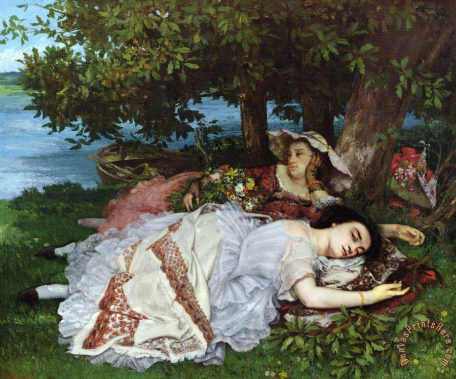 Gustave Courbet Girls on the Banks of the Seine Art Print