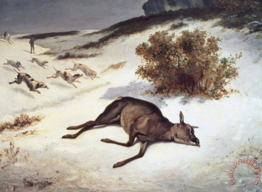 Gustave Courbet Hind Forced Down In The Snow Art Print