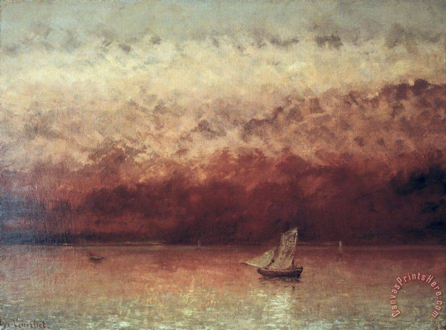 Gustave Courbet Lake Leman with Setting Sun Art Print