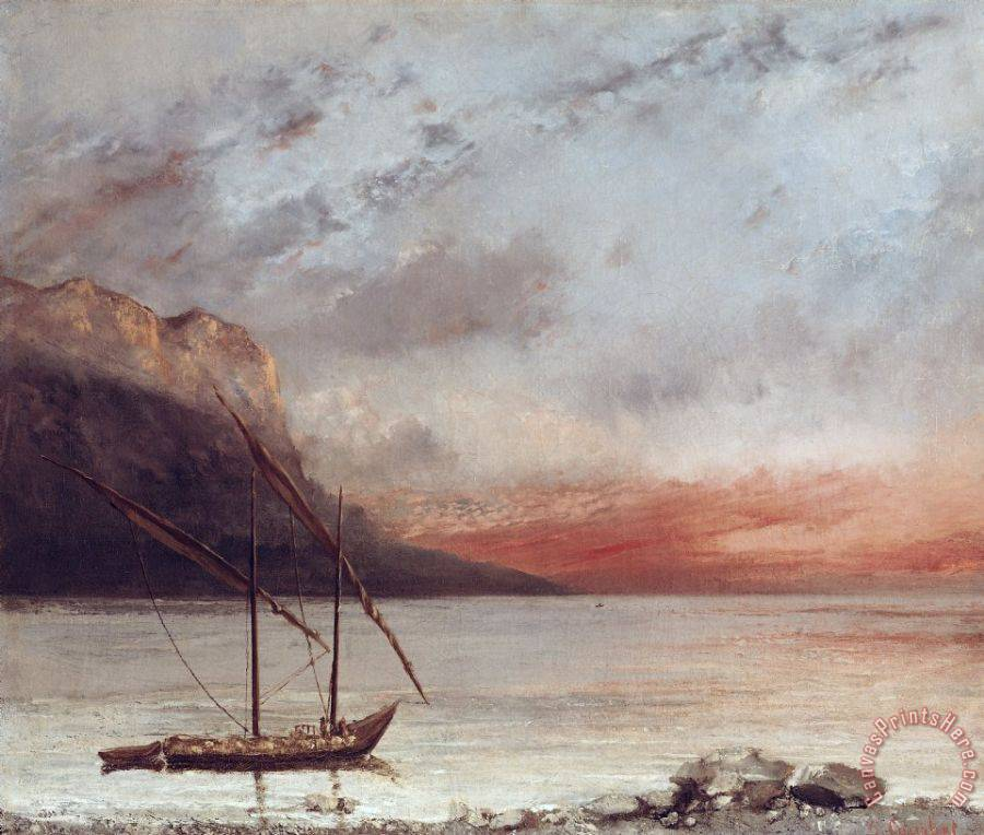 Gustave Courbet Sunset over Lake Leman Art Print
