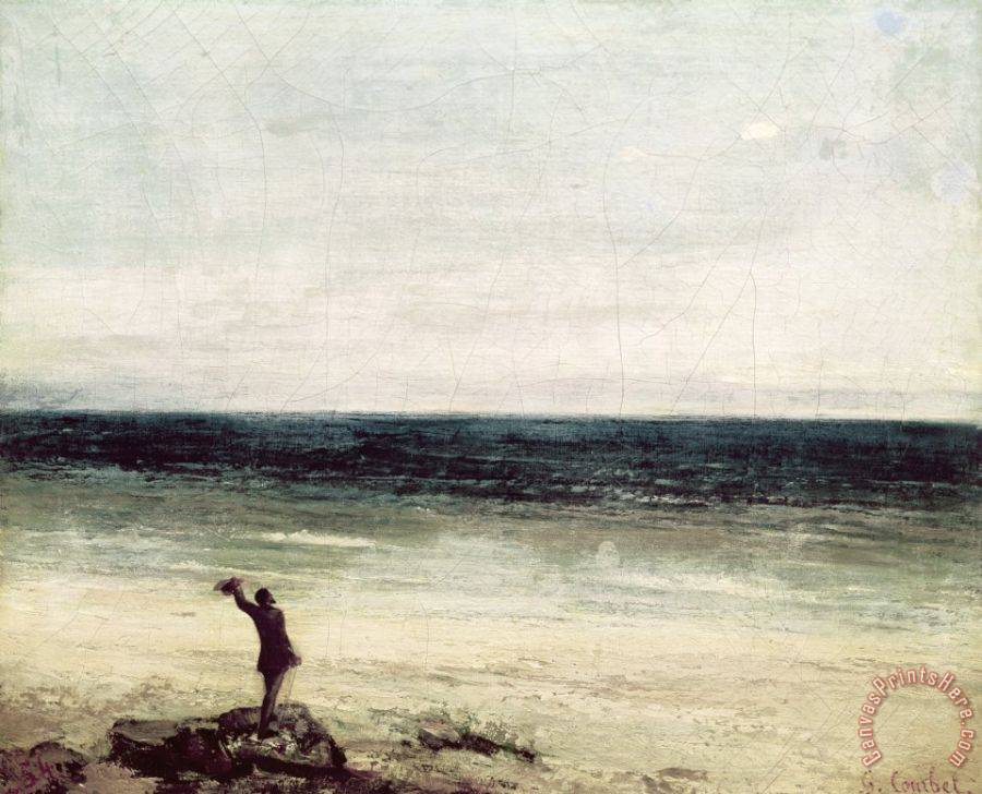 Gustave Courbet The Artist on the Seashore at Palavas Art Print