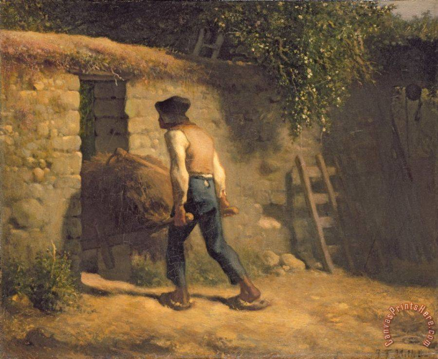 Jean-Francois Millet Peasant with a Wheelbarrow Art Print