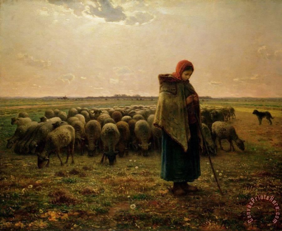 Jean-Francois Millet Shepherdess with her Flock Art Print