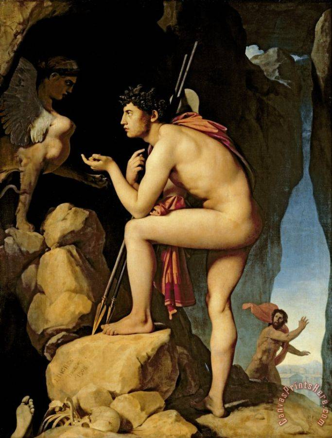 Jean Auguste Dominique Ingres Oedipus and the Sphinx Art Print