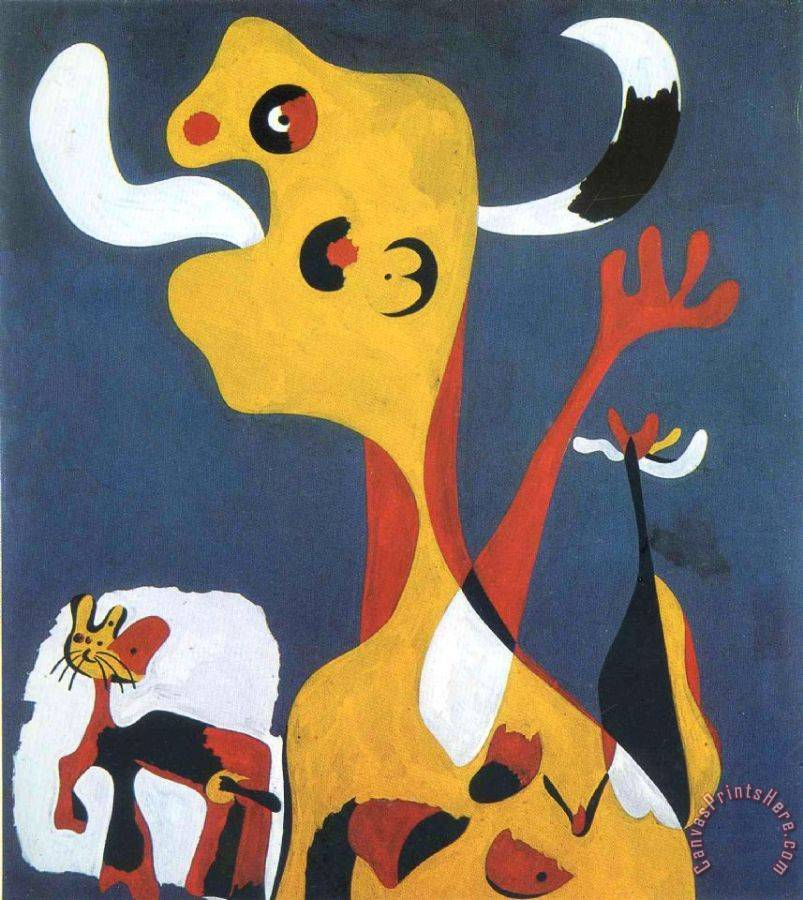 Joan Miro Woman And Dog in Front of The Moon, 1935 Art Print