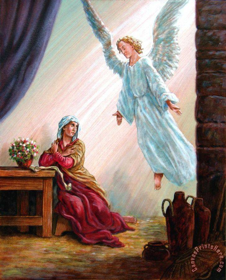 John Lautermilch Mary and Angel Art Print