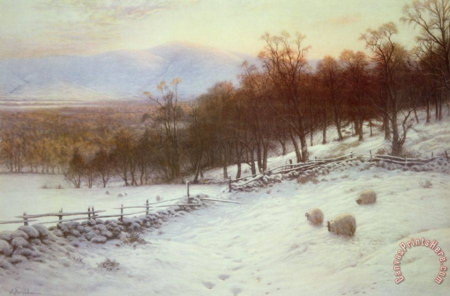 Joseph Farquharson Snow Covered Fields with Sheep Art Print