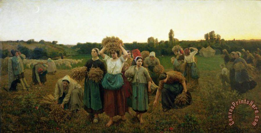 Jules Breton Calling in the Gleaners Art Print