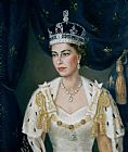 Lydia de Burgh Portrait of Queen Elizabeth II wearing coronation robes and the Imperial State Crown Print