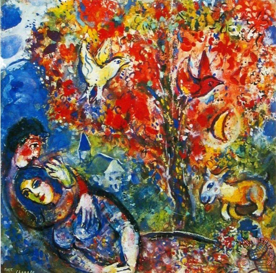 Marc chagall the enamoured art print for sale for Art print for sale