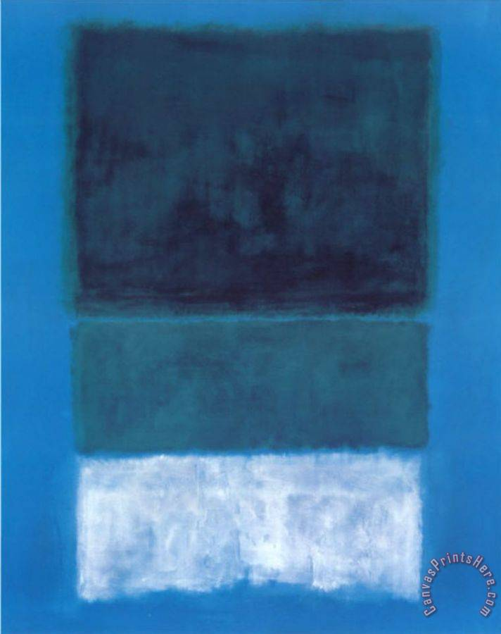 Mark Rothko No 14 White And Greens In Blue Art Print For