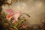 Martin Johnson Heade Orchid And Hummingbird Print