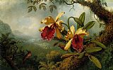 Martin Johnson Heade Orchids And Hummingbird Print