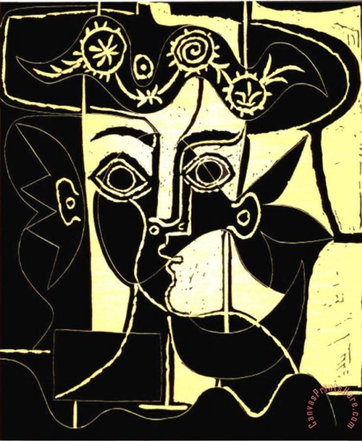 Pablo Picasso Femme Au Chapeau Orne c.1962 Art Print for sale ...