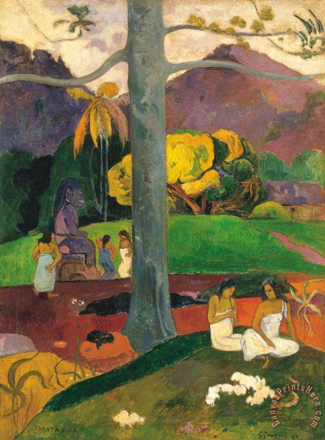 Paul Gauguin Mata Mua (in Olden Times) Art Print
