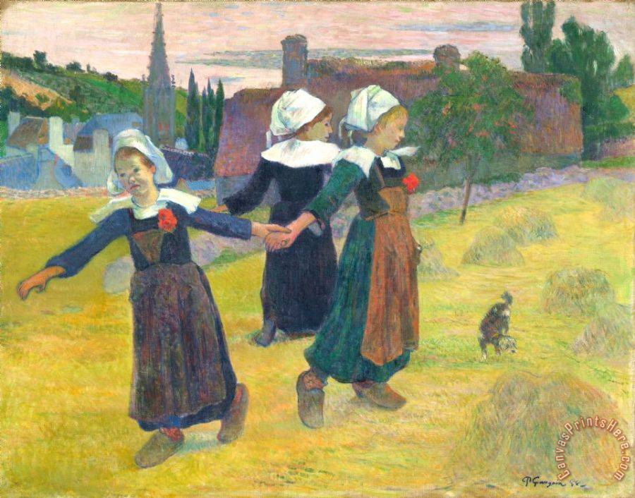 Paul Gauguin Breton Girls Dancing, Pont Aven Art Print