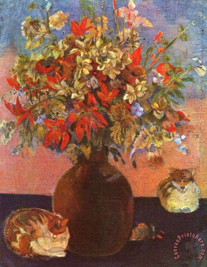 Paul Gauguin Flowers And Cats Art Print