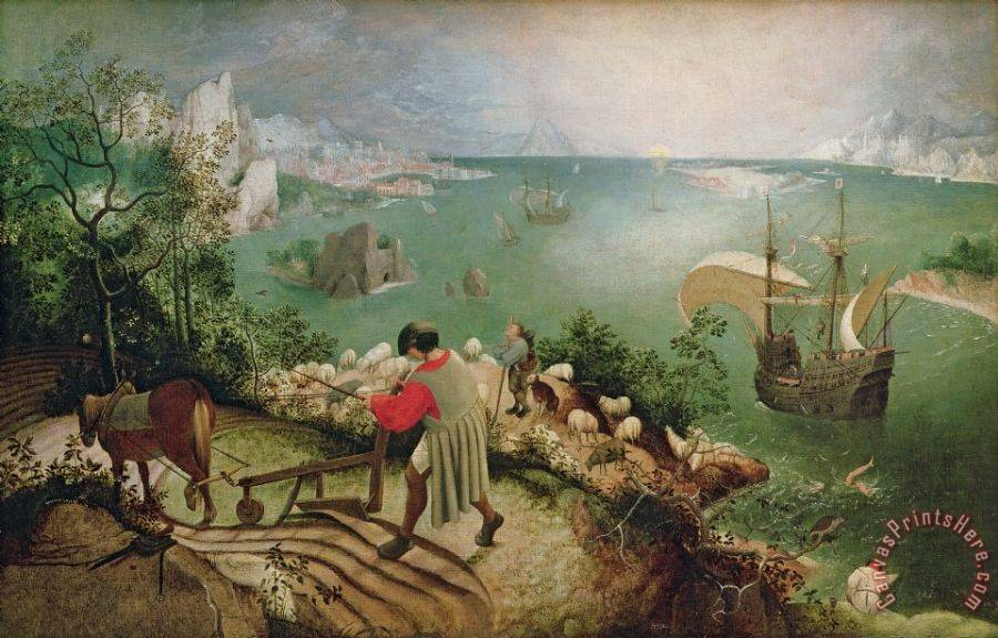 Pieter the Elder Bruegel Landscape with the Fall of Icarus Art Print