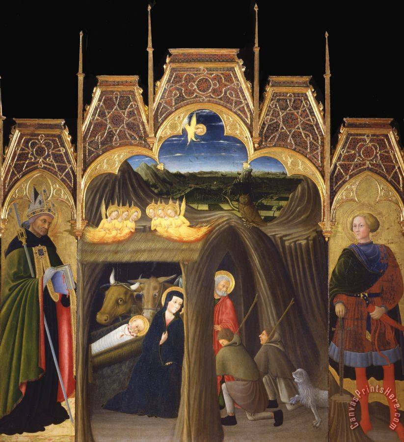 Pietro di Giovanni d'Ambrogio Adoration of The Shepherds Between Saints Augustin And Galgano Art Print