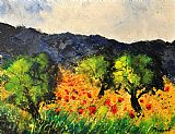 Pol Ledent Olive trees and poppies Print