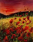 Pol Ledent Red poppies and sunset Print